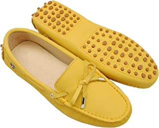 Minishion Girls Womens Nubuck Leather Slip-On Fashion Casual Moccasins Flats Loafers Driving Shoes