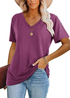 Womens T Shirts Short Sleeve V Neck Plain Summer Tops