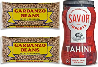 Tahini Paste (16 oz) + Dry Chickpeas Garbanzo Beans (2x 1 lbs bags) - Hummus Ingredients