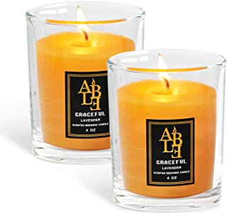 XYUT Lavender Scented All Natural 100% Pure Beeswax Aromatherapy Candle Made with Essential Oil, 4 oz - Great for Home Bathroom Living Room Office Study Yoga Spa-Pack Set of 2 Candles