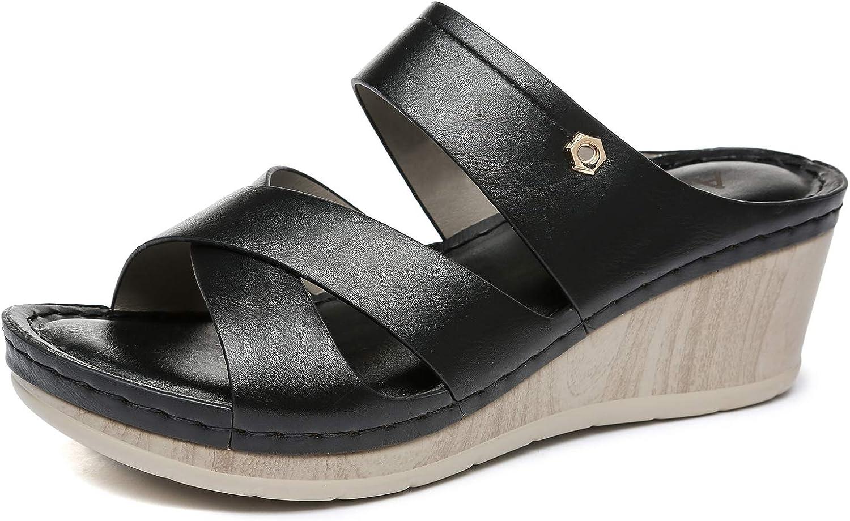 Altxic Women's Open Toe Comfortable Slip on Crisscross Straps Vamp Wedge Slide Sandals