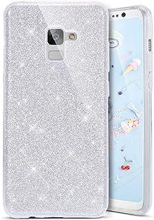 8ad2dcbe45e Coovertify Funda Purpurina Brillante Plateada Samsung A5 2018/A8 2018,  Carcasa Resistente de Gel