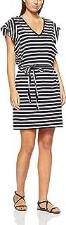 French Connection Women's Stripe Frill Sleeve Dress, Black/Summer White