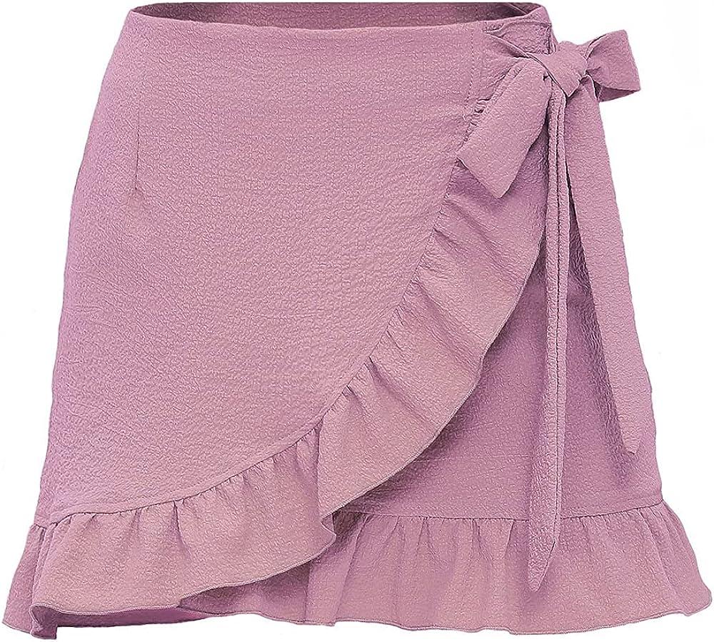 NP Women's Color Zipper Bubble Fabric Ruffle Short Skirt Broken Flower Half-Length Pink
