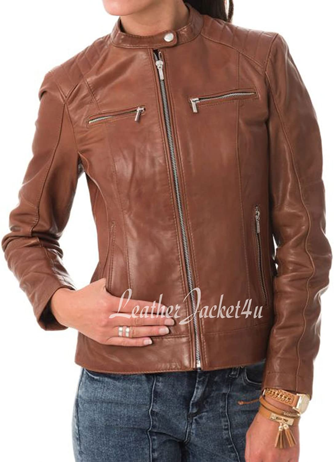 Women's Stylish Genuine Lambskin Leather Jacket 24