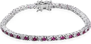 Lab Created Ruby Tennnis Bracelet with Lab Created White Sapphires in Sterling Silver - 7 Inches
