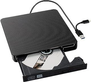 外付CD・DVDドライブ【USB3.0/Type Cポート付き・ CD/DVD読込み・録画込み対応】ポータブルドライブ CD/DVD-Rプレイヤー CD/DVD-Rドライブ 静音 高速 焼損防止 エラー校正 スリム コンパクト Window/L...