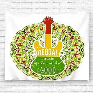YILINGER Wall Blanket Home Adorn Guitar Ornate Mandala Reggae Music Make Me Feel Good Jamaica Th for Dorm Bedroom 59.1