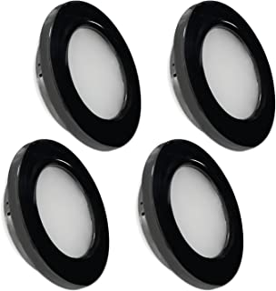 Dream Lighting Cool White LED Recessed Under Cabinet Dome Light Black Detachable Plated Down Lamps Vehicle Caravan Motorho...