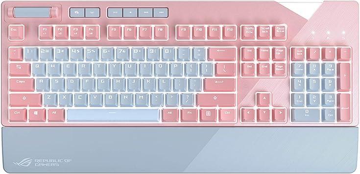 ASUS ROG Strix Flare Pink - Teclado mecánico RGB Gaming con Switch Cherry MX Red iluminado personalizable, reposamuñecas incluido [disposición ...