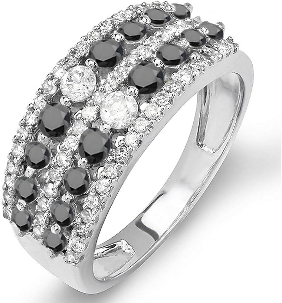 Dazzlingrock Collection 1.15 Carat (ctw) 10K Gold Round Black & White Diamond Ladies Anniversary Wedding Band Ring