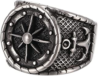 316L Men's Stainless Steel Black Silver Vintage Anchor Nautical Compass Ring