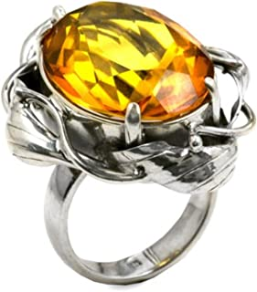 Ian and Valeri Co. Amber Sterling Silver Faceted Collection Oval Ring