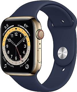 AppleWatch Series6 GPS+Cellular, 44mm rostfri stålboett i guldfinish med sportband i djupblå marin