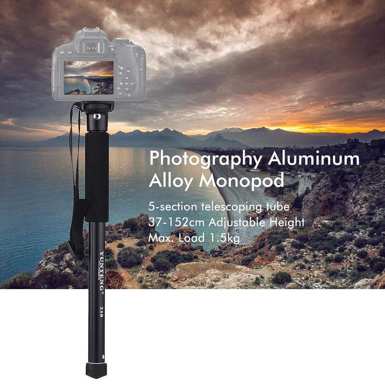 elegantstunning YT-2186 Portable Lightweight Aluminum Alloy Monopod Stand for DSLR Camera Smartphone (Black)
