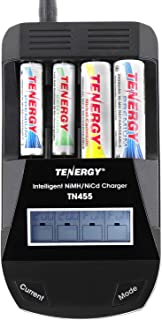 Tenergy TN455 AA AAA Battery Charger, 4-Slot Household Battery Charger, AA Cell Battery Charger with Individual Bay LCD Display, Intelligent Smart Charger for NiMH/NiCd Rechargeable Batteries