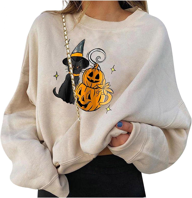 GUOBIOZIY Halloween Sweatshirt for Women Trendy,Womens Graphic Tunic Long Sleeve Tee Shirts Loose Fit Shirts Blouse Top