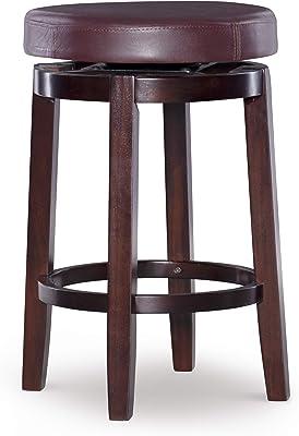 "Linon Maya Dark Red & Espresso Round Swivel 25"" Counter Stool, Dark Red Counter"