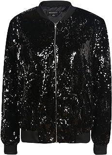 Vero Viva Women's Sparkle Sequin Front Zip Coat Long Sleeve Ribbed Bomber Jacket