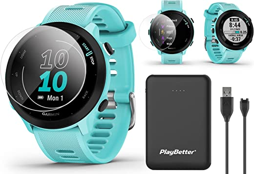 Garmin Forerunner 55 (Aqua) GPS Running Watch Power Bundle   Includes PlayBetter Portable Charger & HD Screen Protectors   2021 Running Watch   Heart Rate, PacePro, Accurate GPS   010-02562-02