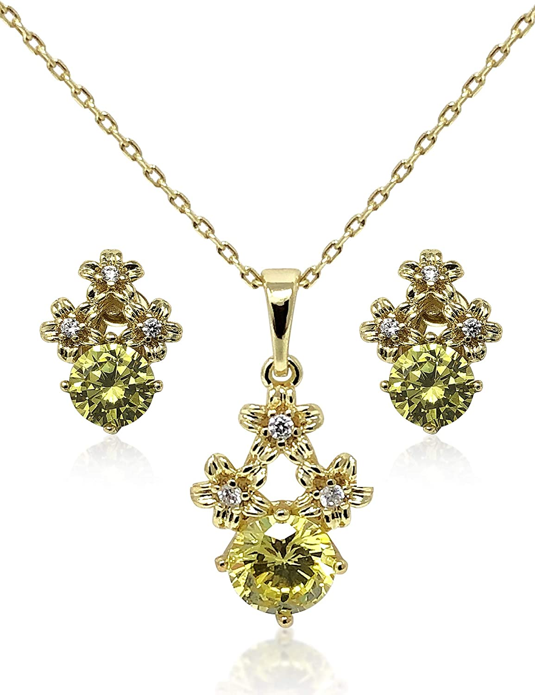 COCHÉ JEWELRY Floral Luxury: 14K Gold Plated Green Zirconia Necklace & Stud Earrings Jewelry Set