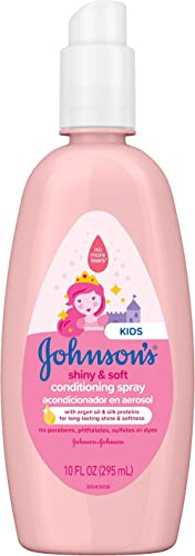 Johnson's Shiny & Soft Tear-Free Kids' Hair Conditioning Spray with Argan Oil & Silk Proteins, Paraben-, Sulfate- & D...