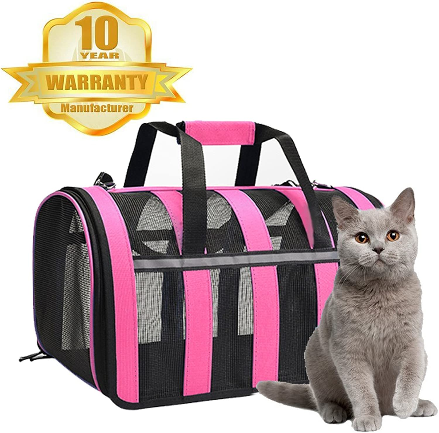Cat Carrier Portable Pet CarrierSmall Dogs,Puppy, Cats Travel Carrier Soft Sided Tote Bag Purse,Airline Approved, Perfect for Small Animals (Pink)