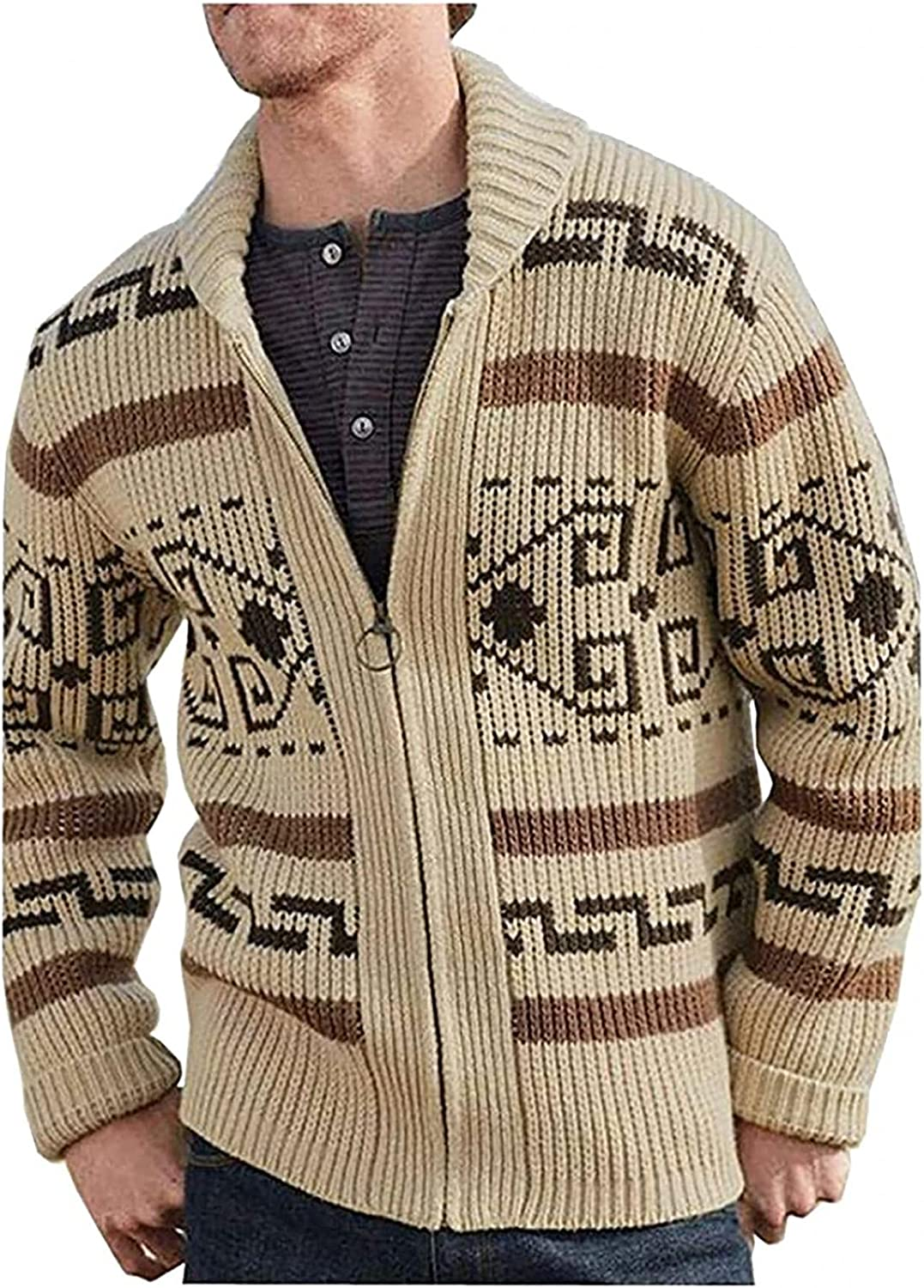 POHOK Mens Knitted Cardigan Sweater Stand Collar Long Sleeve Zip Up Thick Warm Coat Stripes Casual Slim Fit Jacket Outerwear