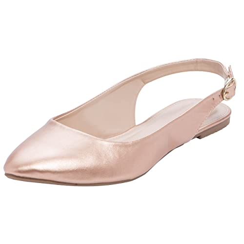 Cambridge Select Women s Closed Pointed Toe Buckled Slingback Flat