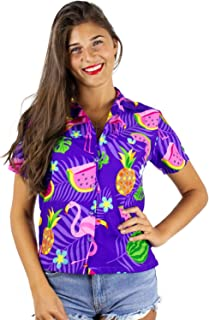 KAMEHAMEHA King Kameha Funky Hawaiian Shirt Blouse Women Shortsleeve Frontpocket Hawaiian-Print Melon Flamingo Fruits