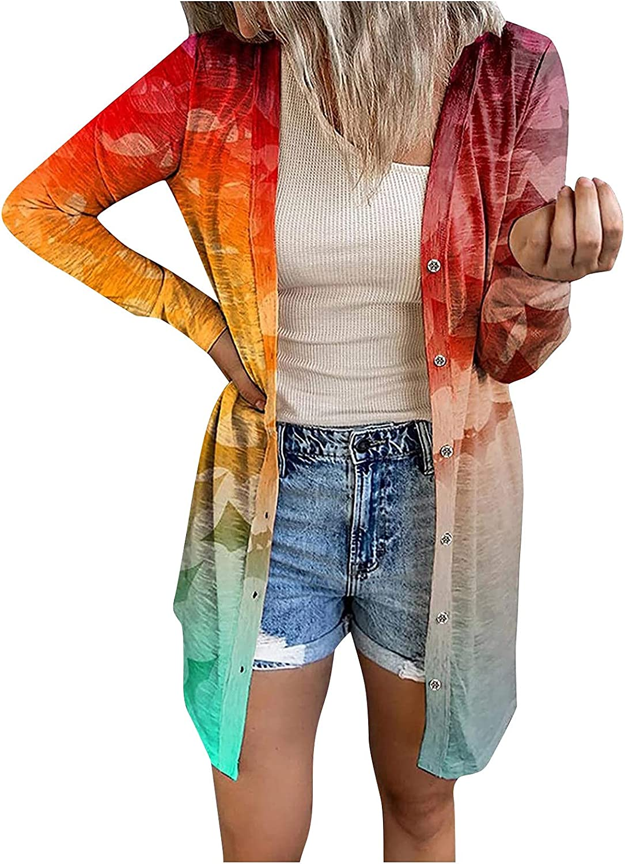 Women's Halloween Print Long Sleeve Cardigan Casual Lightweight Button Kimonos Outwear Long Sleeve Top