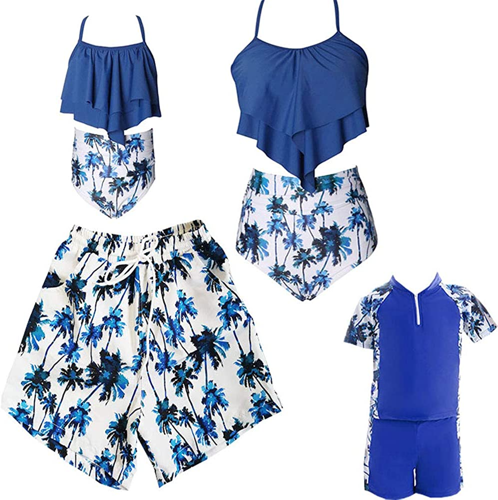 Ulikeey Blue Coconut Many popular brands Tree 67% OFF of fixed price Family Matching Dad S Swimsuit Mom for