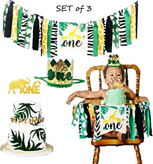 Wild One Safari Zoo Animal 1st Birthday Decoration - HighChair Banner,Glitter Crown Hat,Cake Topper for Baby Girls Boys Tropical Party Decorations Photo Prop Cake Smash Supplies (Set of 3)