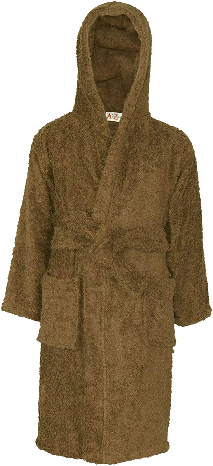 Kids At the price Girls Boys 100% Cotton Soft Hooded Bathrobe Brown Dr Soldering Luxury