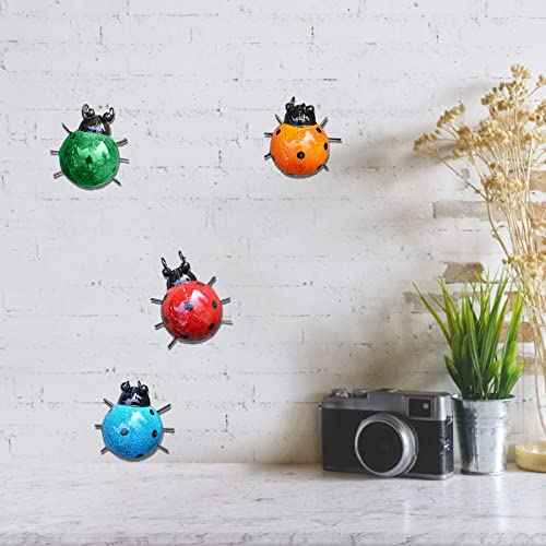 new arrival Cute Metal Ladybug Decorative Set of 4 Garden Wall Art Ladybugs for Backyard Garden Lawn wholesale Porch Colorful Hanging Decoration Outdoor Indoor wholesale Wall Decor Beetle Ornaments outlet sale