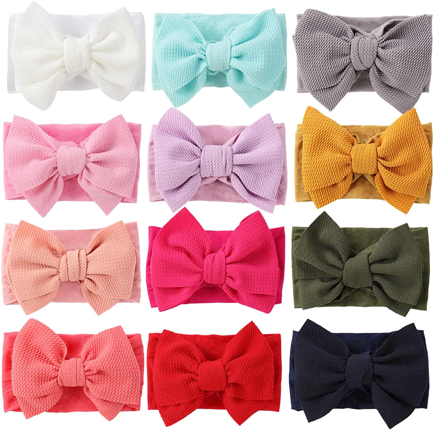 Cinaci 12 Pack Solid Stretchy Nylon Headbands with Big Bow Hair Accessories Wide Headwraps for Baby Girls Infants Toddlers Kids