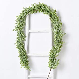 DearHouse Faux Boxwood Garland Plant, 6 Ft Artificial Vines Hanging Boxwood Leaves Greenery Garland for Wedding Backdrop Arch Wall Decor, UV Protected Indoor Outdoor