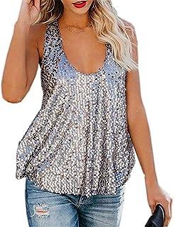 d7ac54dbcef833 Eyiou Women U Neck Open Back Sparkle Sequin Embellished Vest Sleeveless  Loose Tank Top