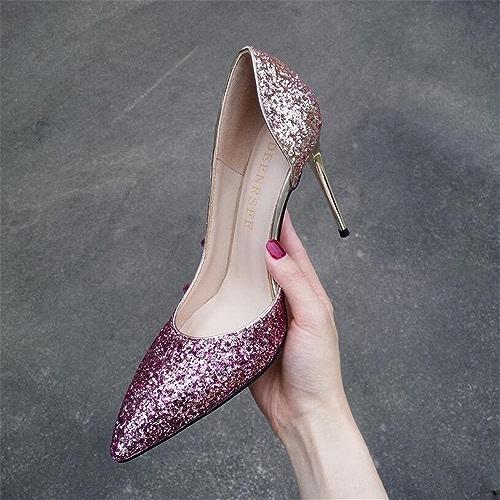 Xue Qiqi Escarpins Dégradé Fille Pointue Talons Hauts Femme Côté Sauvage Joker avec Chaussures Chaussures Simples, 37, Or Violet 10CM