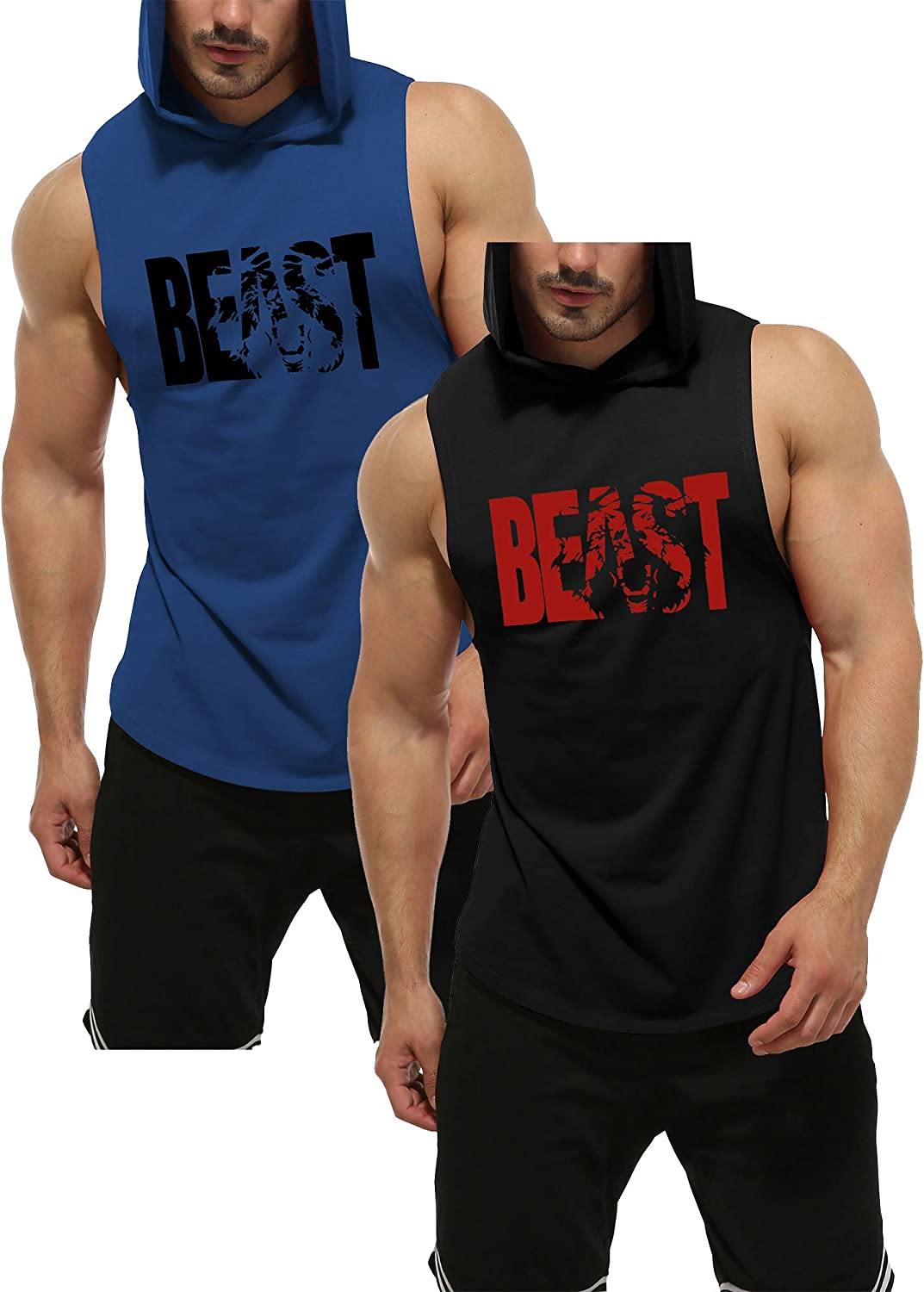 GymRevolution Mens Muscle Fit Workout Hooded Tank Gym Fitness Quick Dry Sleeveless Hoodies