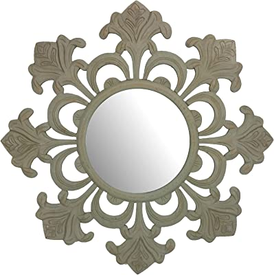 Amazon Com Stratton Home Decor Shd0145 Francesca Wall Mirror 24 00 W X 1 75 D X 24 00 H Silver Home Kitchen