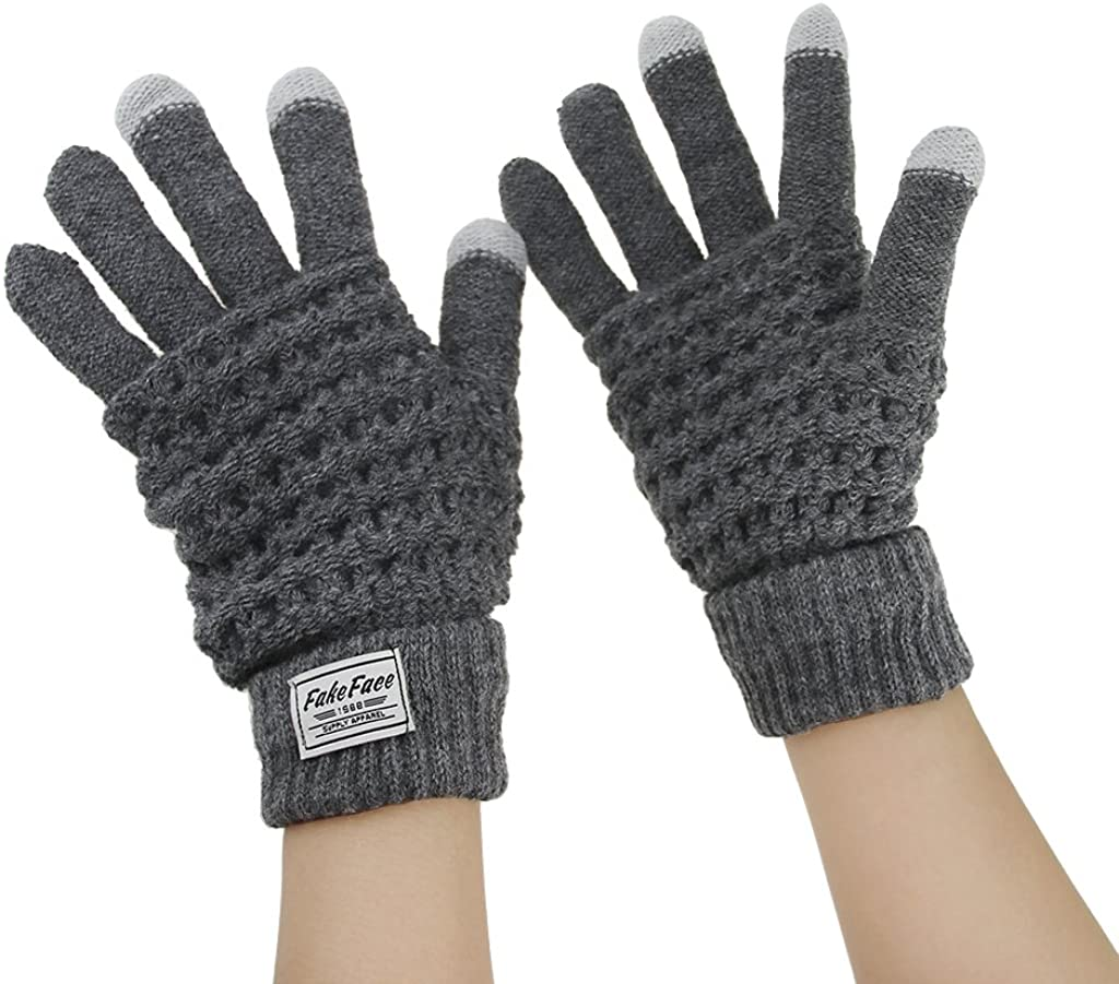 Touch Screen Full-finger Thermal Weave Knitted Thick Gloves Winter Warmer Mittens