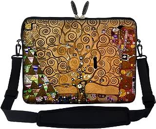 Meffort Inc 17 17.3 inch Neoprene Laptop Sleeve Bag Carrying Case with Hidden Handle and Adjustable Shoulder Strap - Klimt Tree of Life