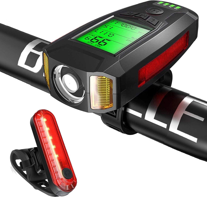 Bike Ranking TOP10 half Light Set Headlight Taillight with USB Speedometer Rechar
