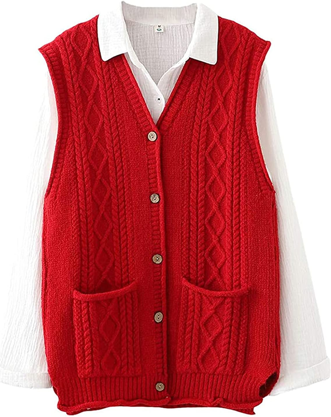 Women's Cable Knit Sweater Vest V Neck Button Down Sleeveless Cardigan Outwear