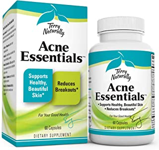 Terry Naturally Acne Essentials - 60 Vegan Capsules - Skin Support Supplement, Reduces Occasional Breakouts, Promotes Clea...