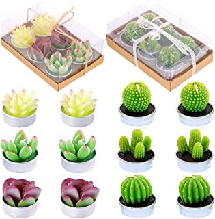Glarks 12 Pieces Cute Tea Lights Tealight Candles, Artificial Succulents Handmade Cactus Candles for Birthday Party Valentine's Day Wedding Spa Home Decor and DIY Gift