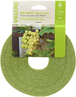 VELCRO Brand ONE-WRAP Garden Ties | Plant Supports for Effective Growing | Strong Gardening Grips are Reusable and Adjustable | Gentle Plant Ties | Cut-to-Length | 75 ft by 1/2 in roll | Green