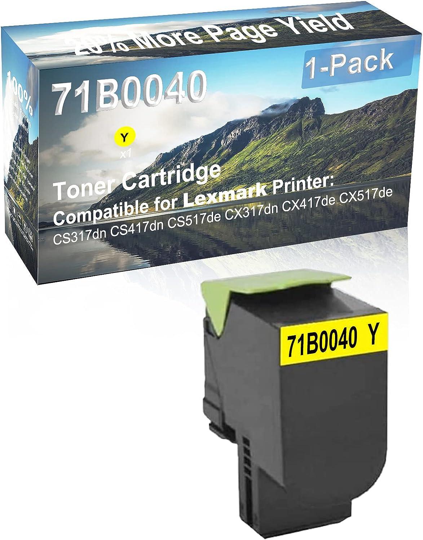 1-Pack (Yellow) Compatible CS517de CX317dn Printer Toner Cartridge High Capacity Replacement for Lexmark 71B0040 Toner Cartridge