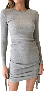 BerryGo Women's Ruched Round Neck Pullover Knit Bodycon Sweater Mini Dress